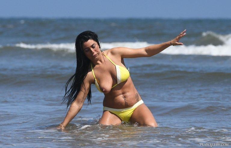 Simone Reed Boob Slip And Bikini On A Beach