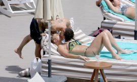 Gemma Atkinson Sunbathing In Bikini Near The Pool