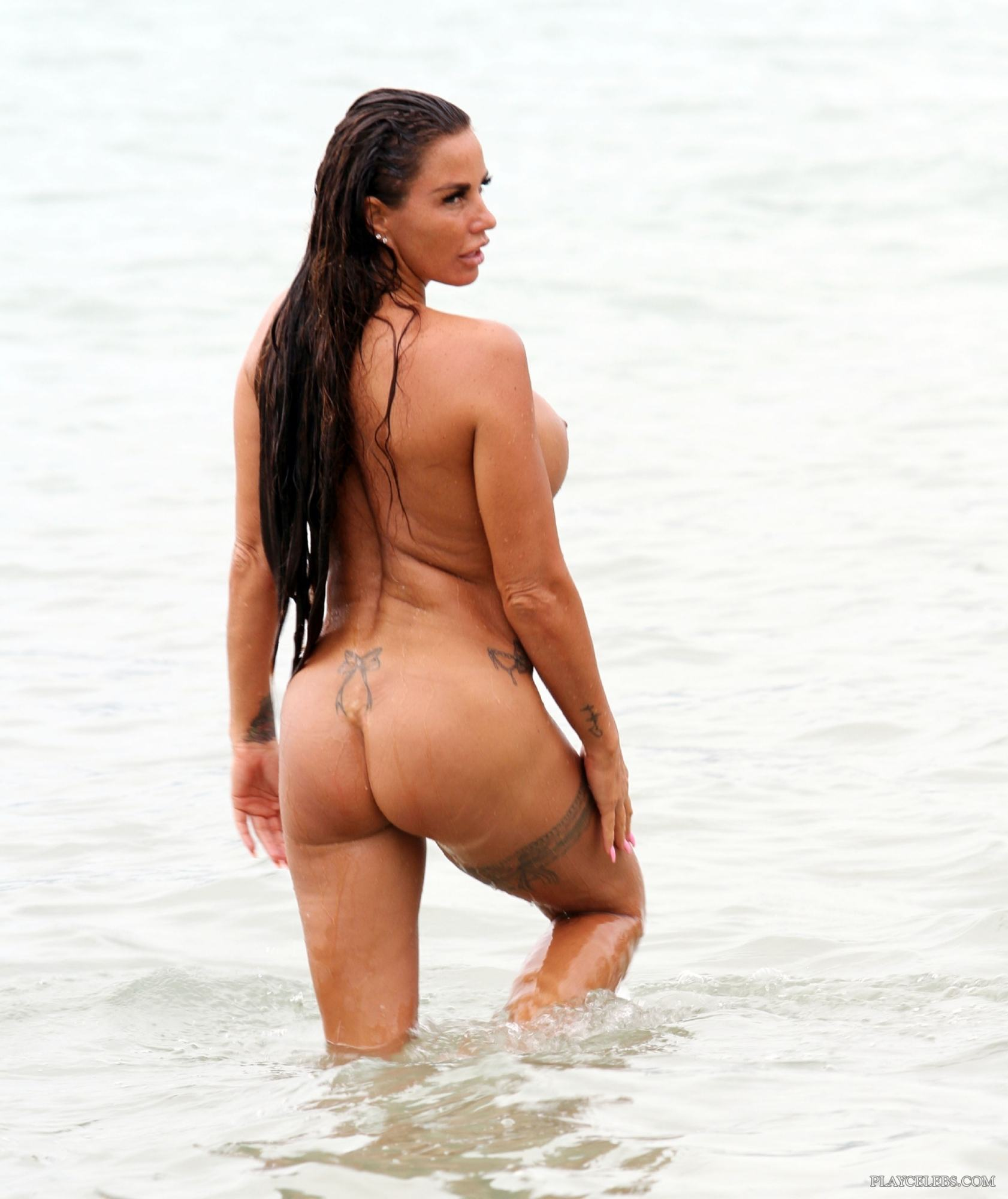Katie Price Exposing Totally Nude Wet Body On A Beach
