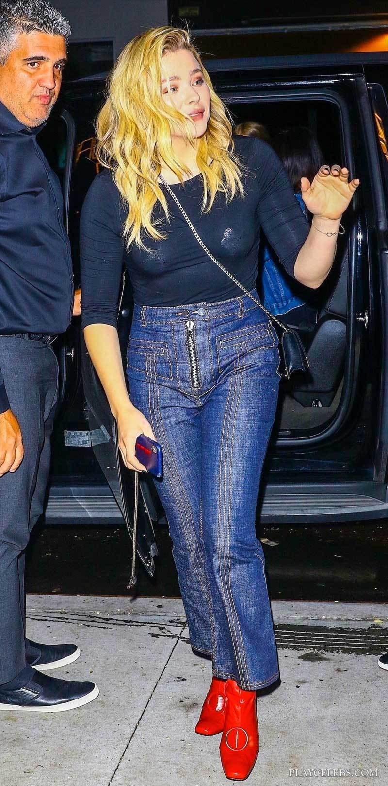 Chloe Grace Moretz Pasties In See Through And Upskirt Moment