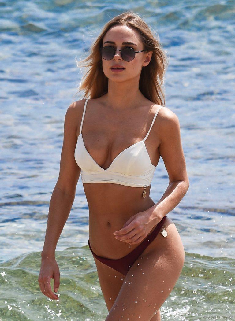 Kimberley Garner Areola Slip And Thong Bikini On A Beach