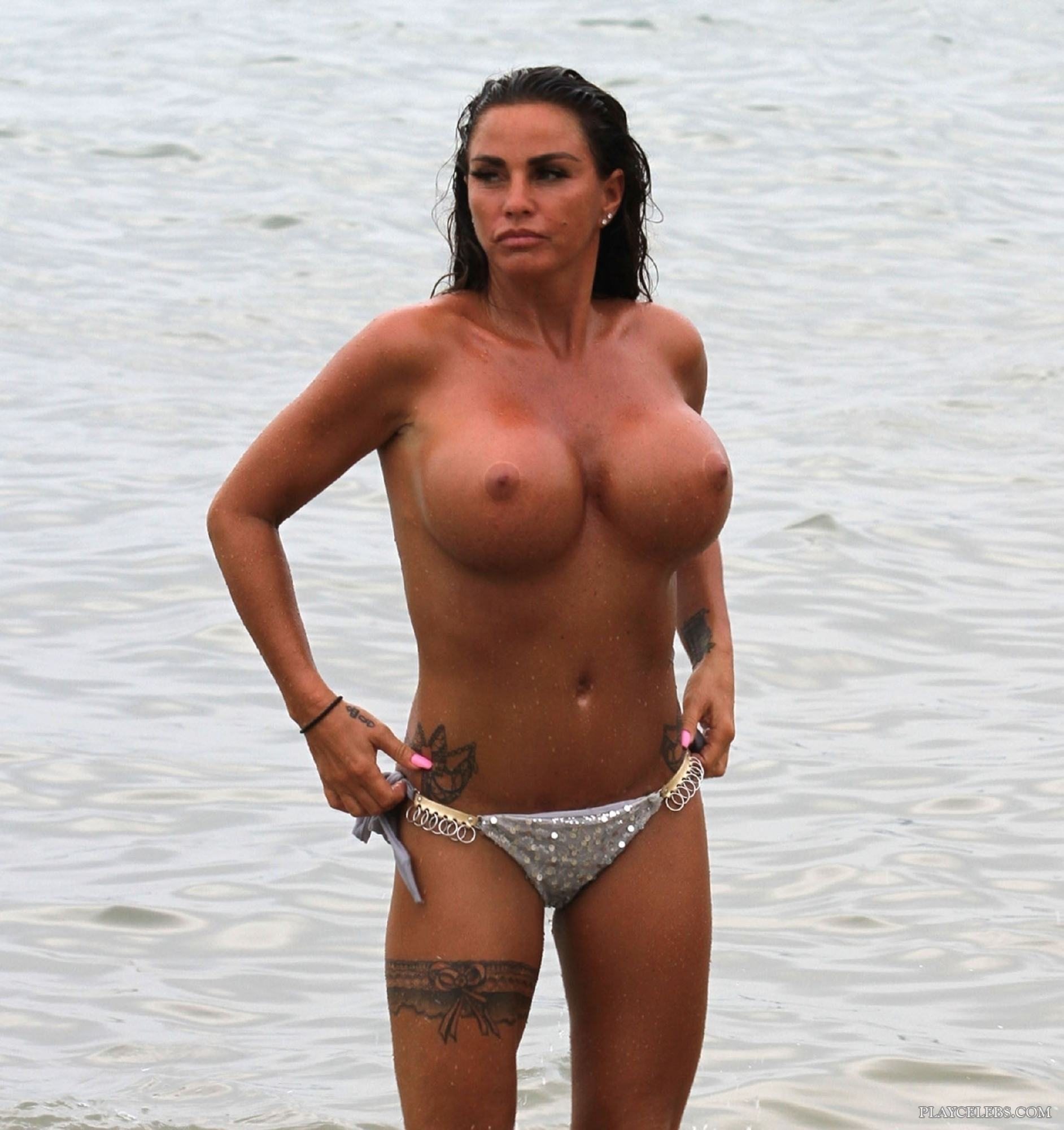Katie Price Showing Her Massive Tanned Boobs