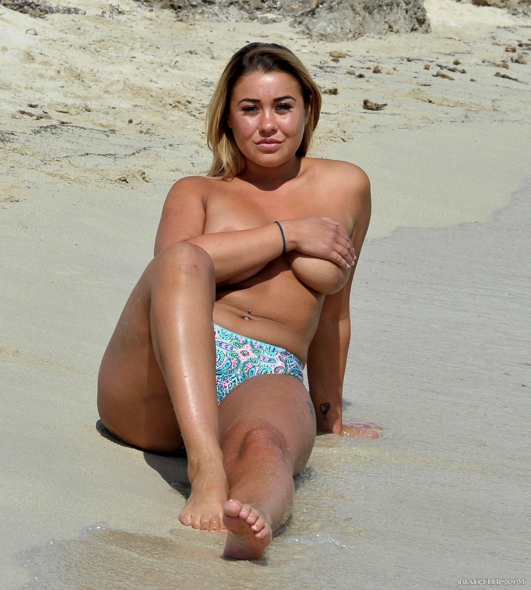 Ellie Young Topless And Covering Her Big Boobs