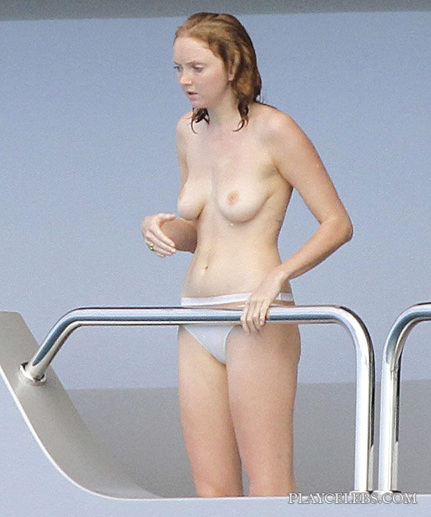 Lily Cole Exposing Her Nude Tits On A Yacht