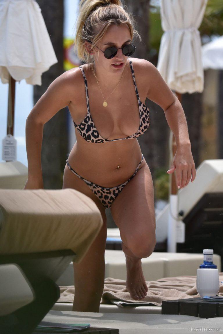 Tiffany Watson Sunbathing In Sexy Leopard Bikini