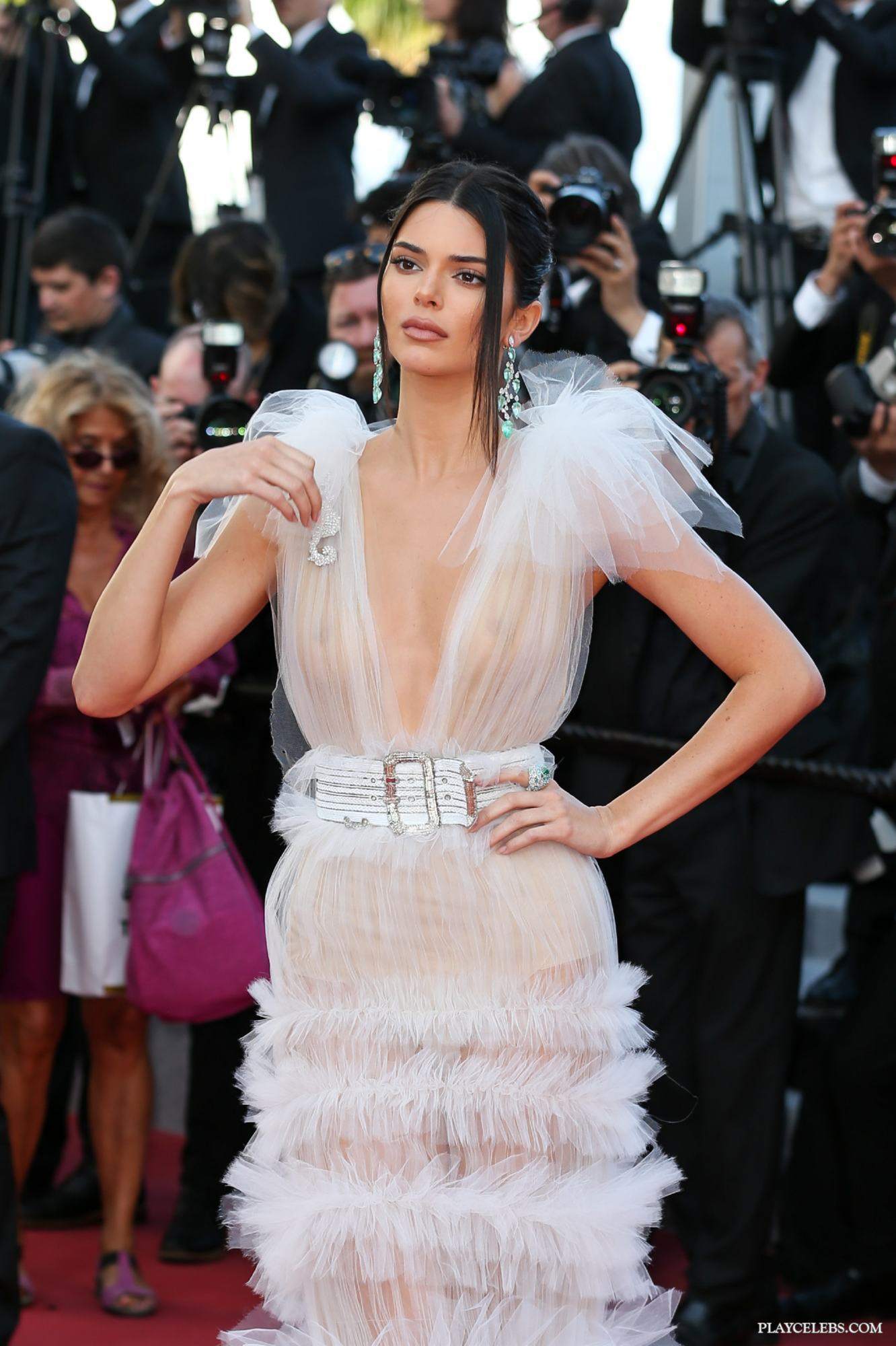 Kendall Jenner Posing In See Through During Cannes Film Festival