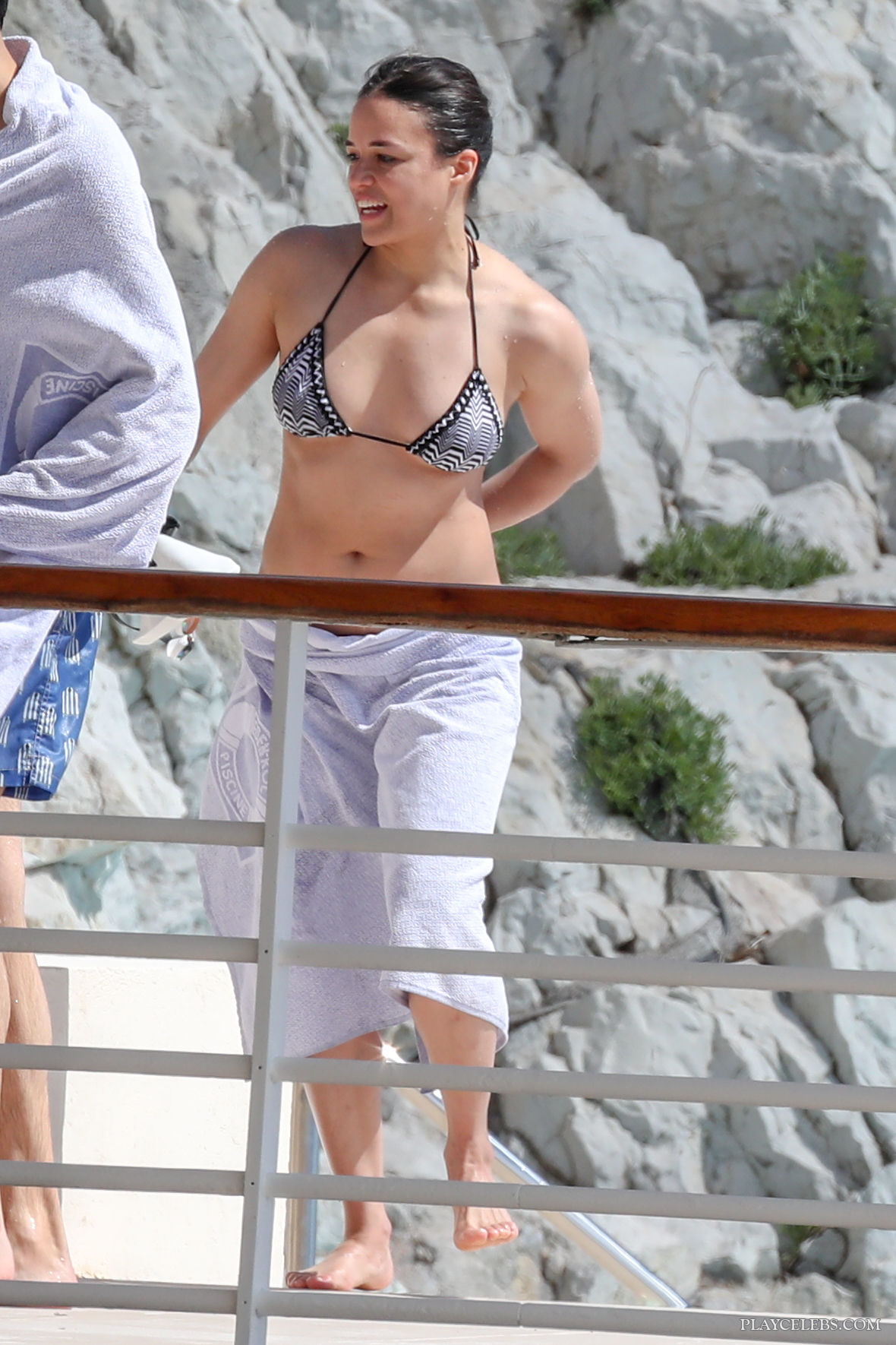 Michelle Rodriguez Sunbathing in Bikini At Eden Roc Hotel in Antibes, France