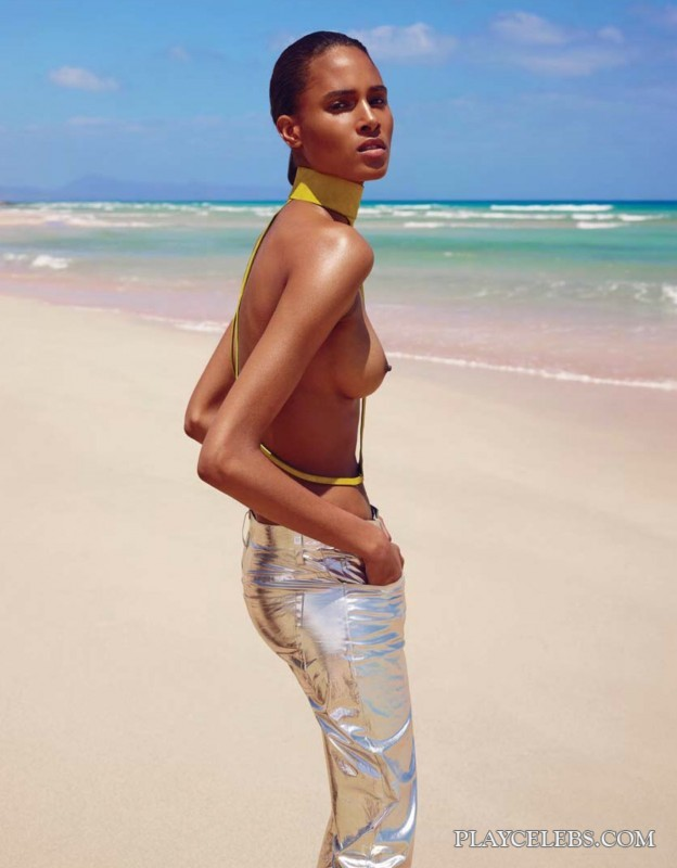 Model Cindy Bruna Posing Topless And See Through