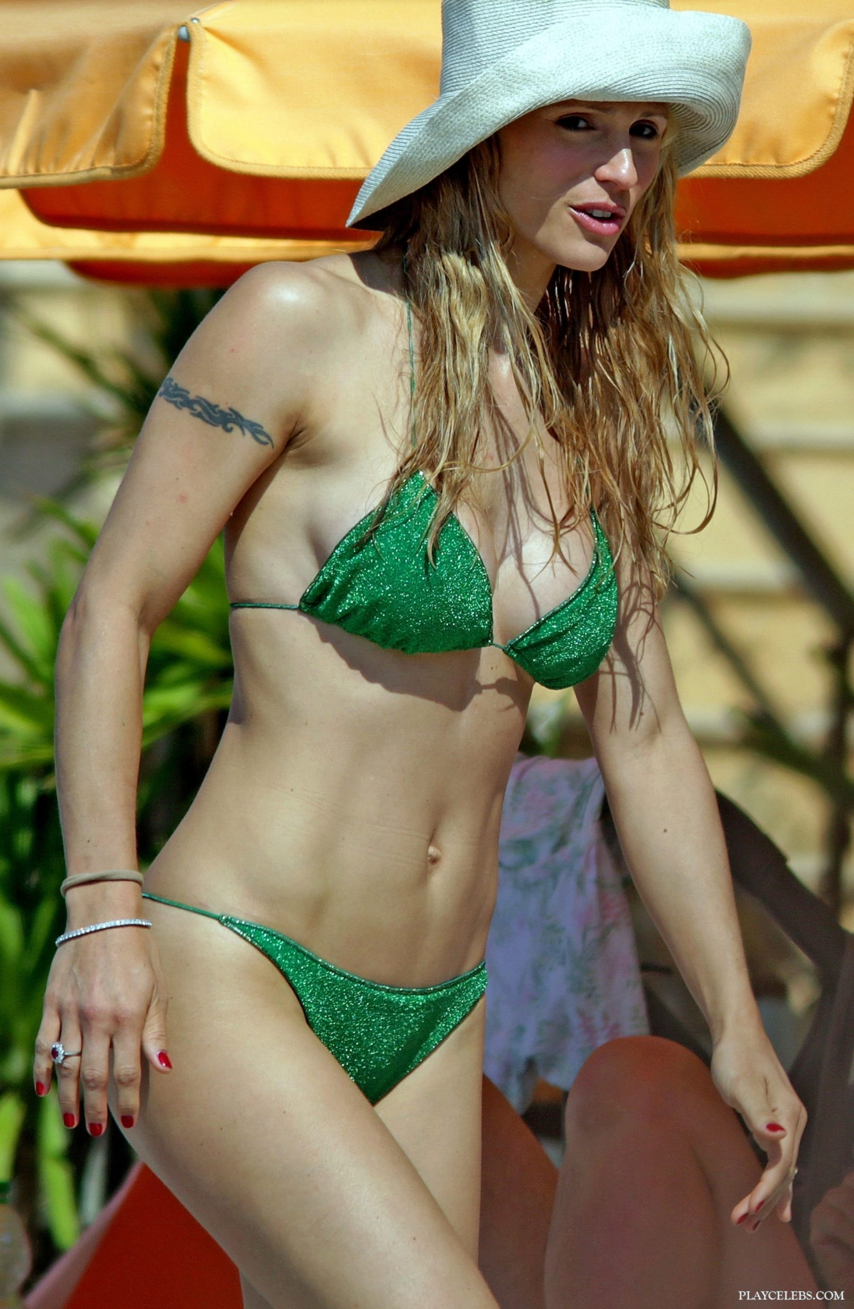 Super Model Michelle Hunziker Sunbathing In Sexy Green Bikini