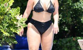 Ashley Graham Sunbathing In Black Bikini