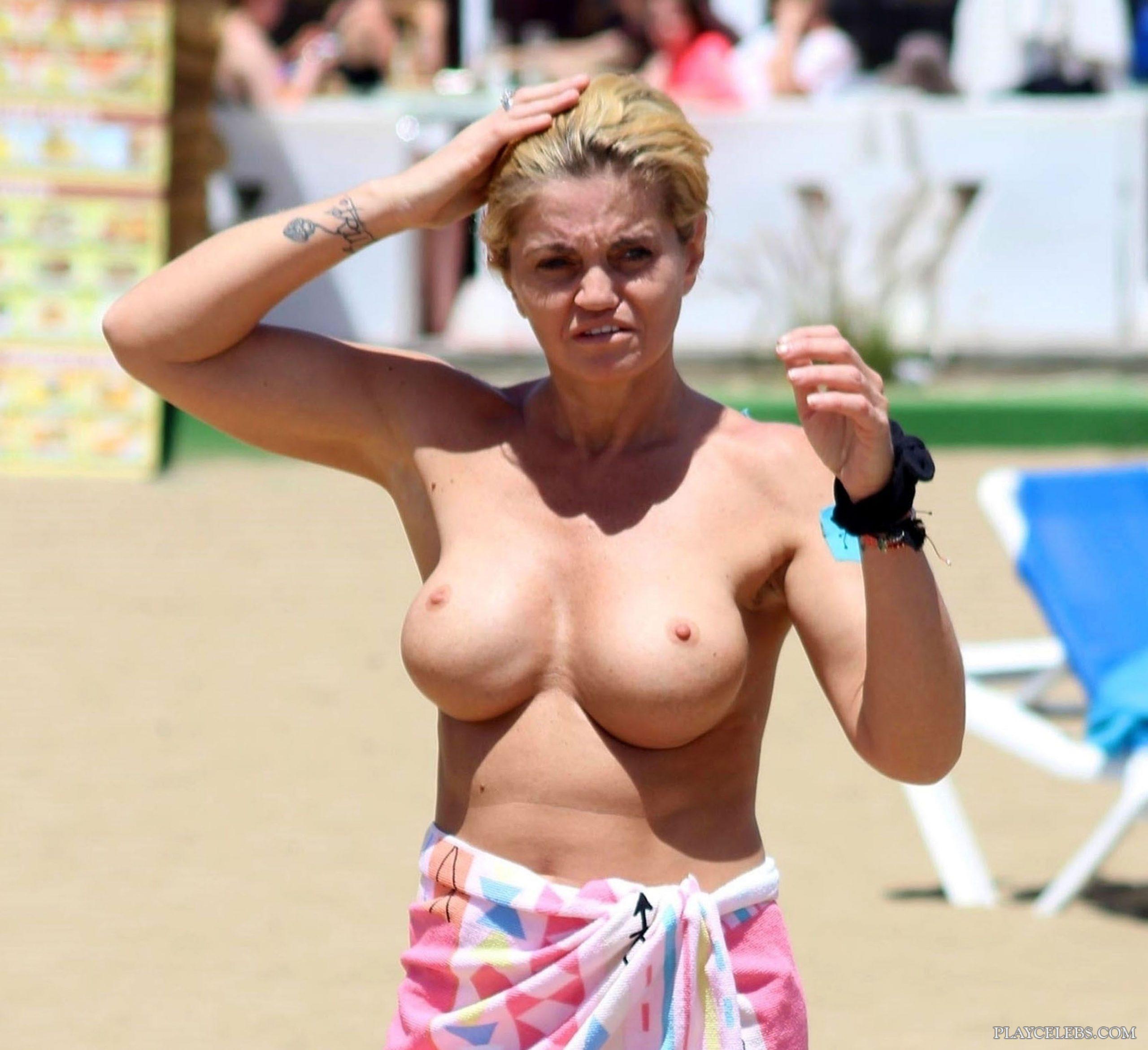Danniella Westbrook Topless And Thong Bikini On A Beach
