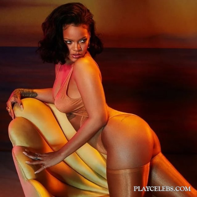 Rihanna Posing In Sexy yellow Lingerie