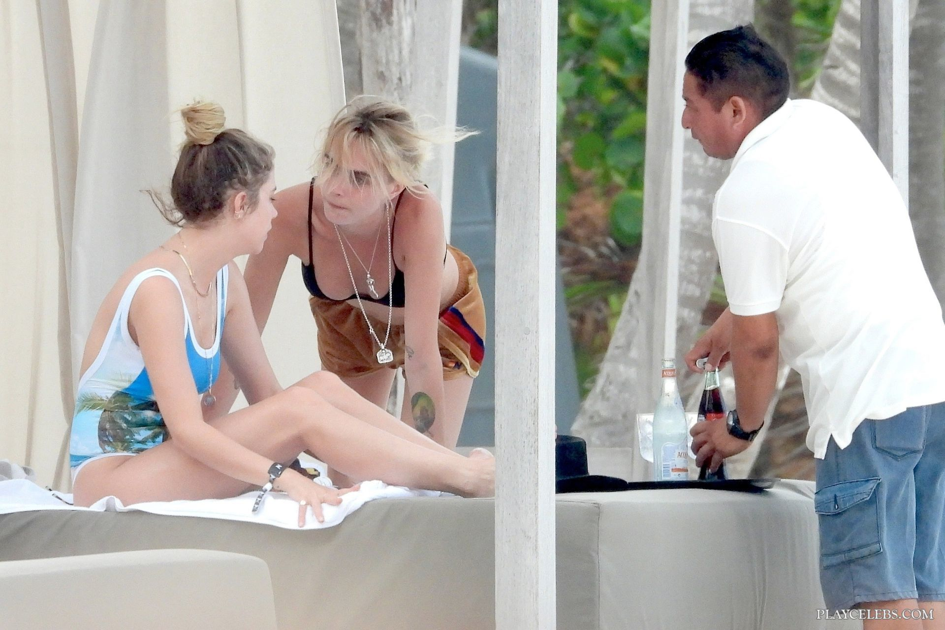 Ashley Benson & Cara Delevingne Caught By Paparazzi Tanning In Bikini