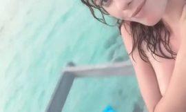 Kaya Scodelario Topless Beach Selfie Video
