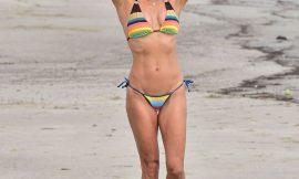 Brooke Burke Tiny Bikini On A Beach