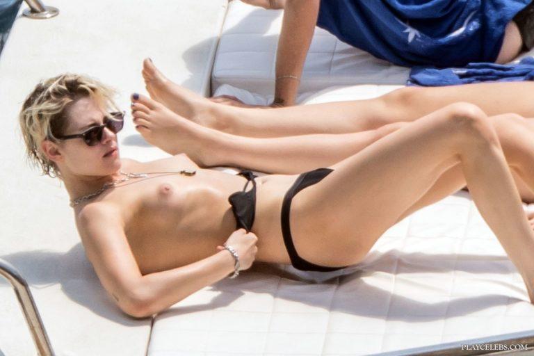 Kristen Stewart Topless And Bikini On A Yacht