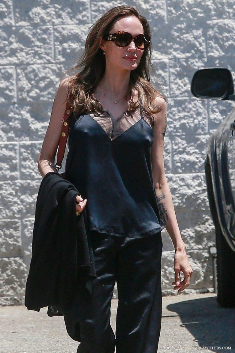 Angelina Jolie Flashing Her Hard Nipples Outdoors