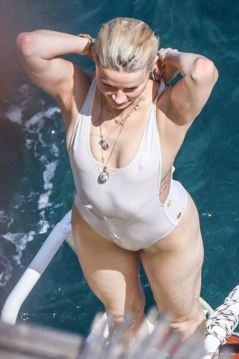 Amber Heard See Through In Wet White Swimsuit