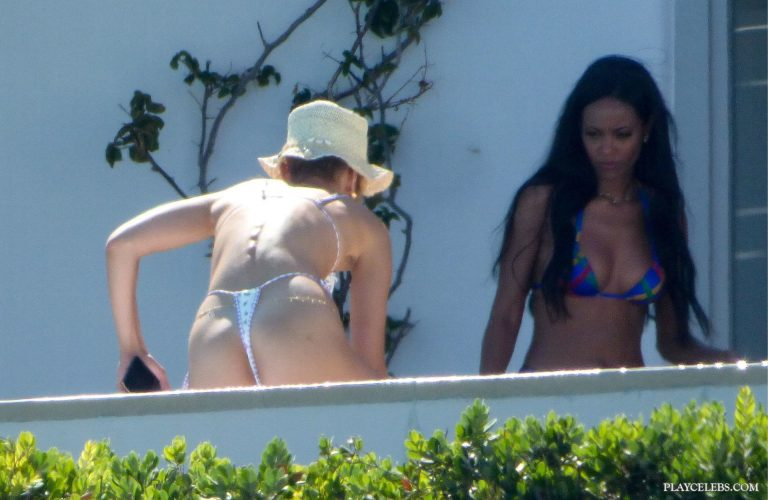 Gigi Hadid & Bella Hadid Sunbathing In Tight Thong Bikini