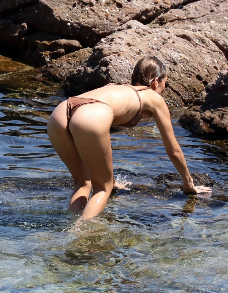 Bella Hadid Shows Off Her Skinny Body In Wet Thong Bikini