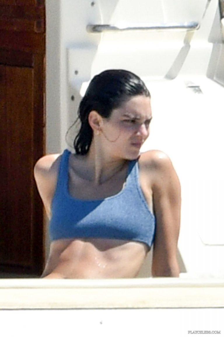 Kendall Jenner Caught By Paparazzi Blue Bikini On A Yacht