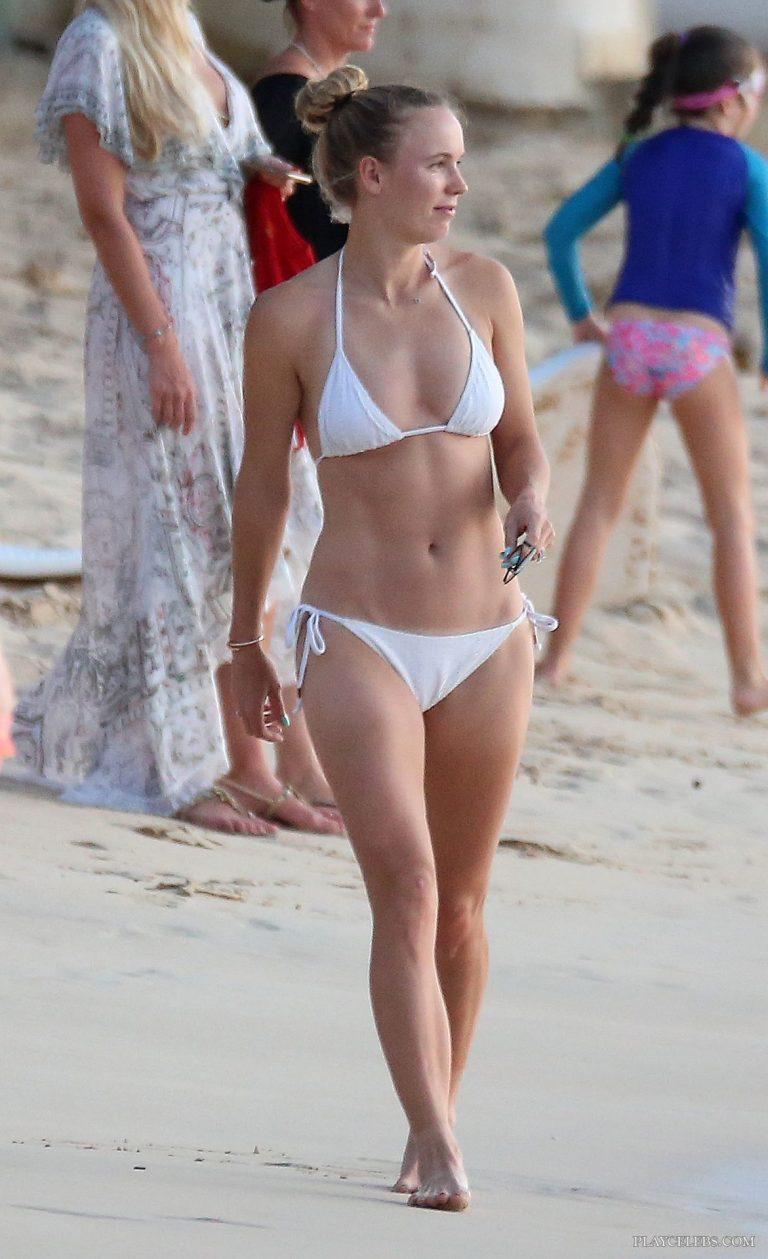 Caroline Wozniacki Paparazzi White Bikini Beach Photos