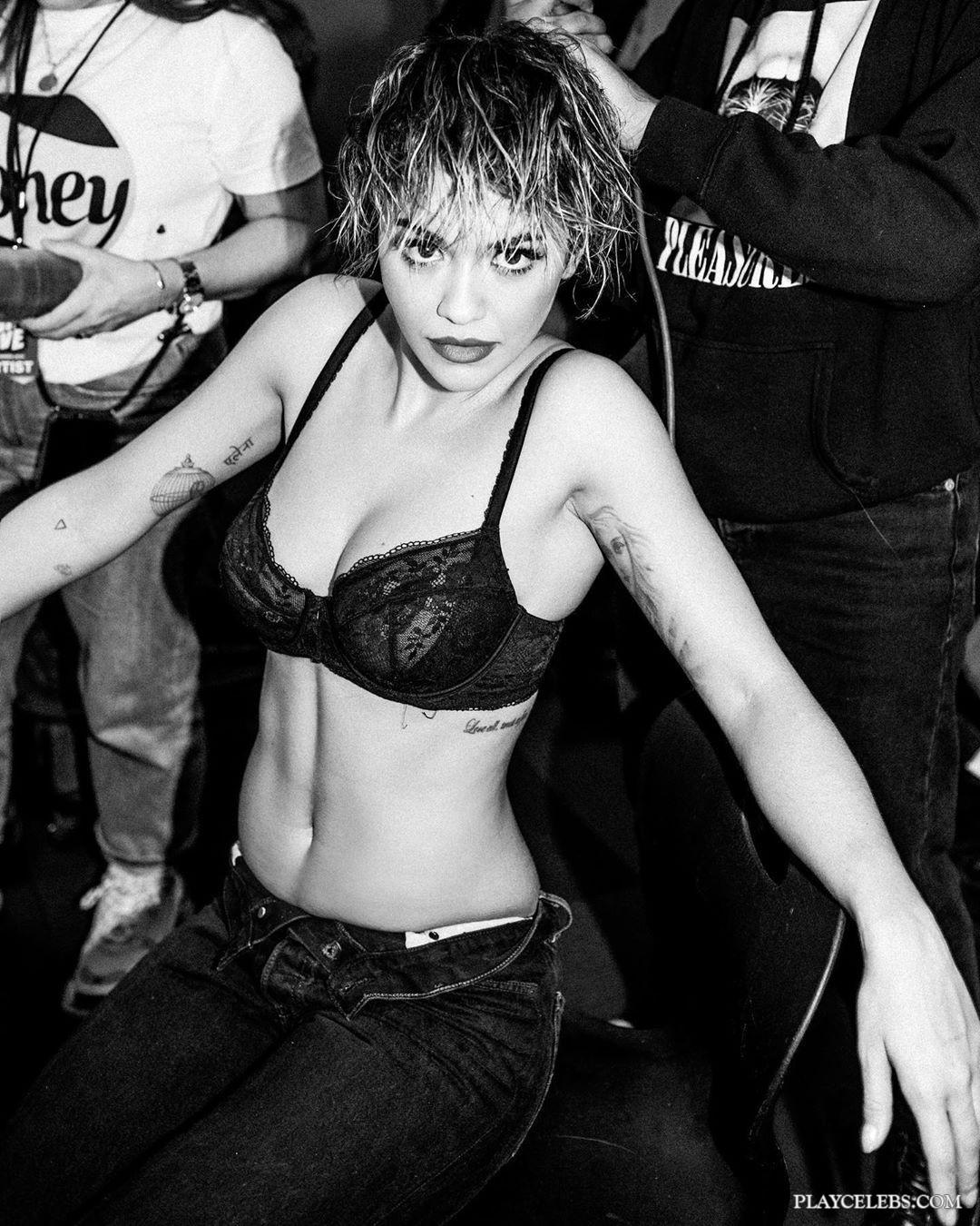 Rita Ora Sexy In Black Lacy Lingerie