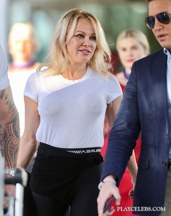 Pamela Anderson Looks Hot In A Sheer White Tee & Sheer White Bra