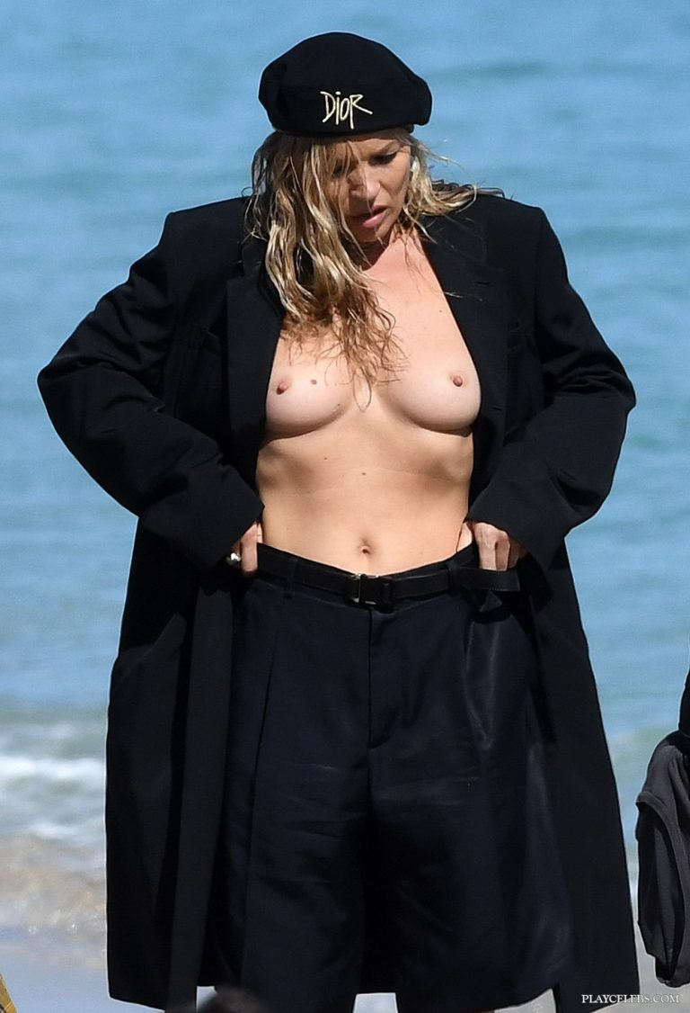 Kate Moss Topless During Photoshoot On A Beach