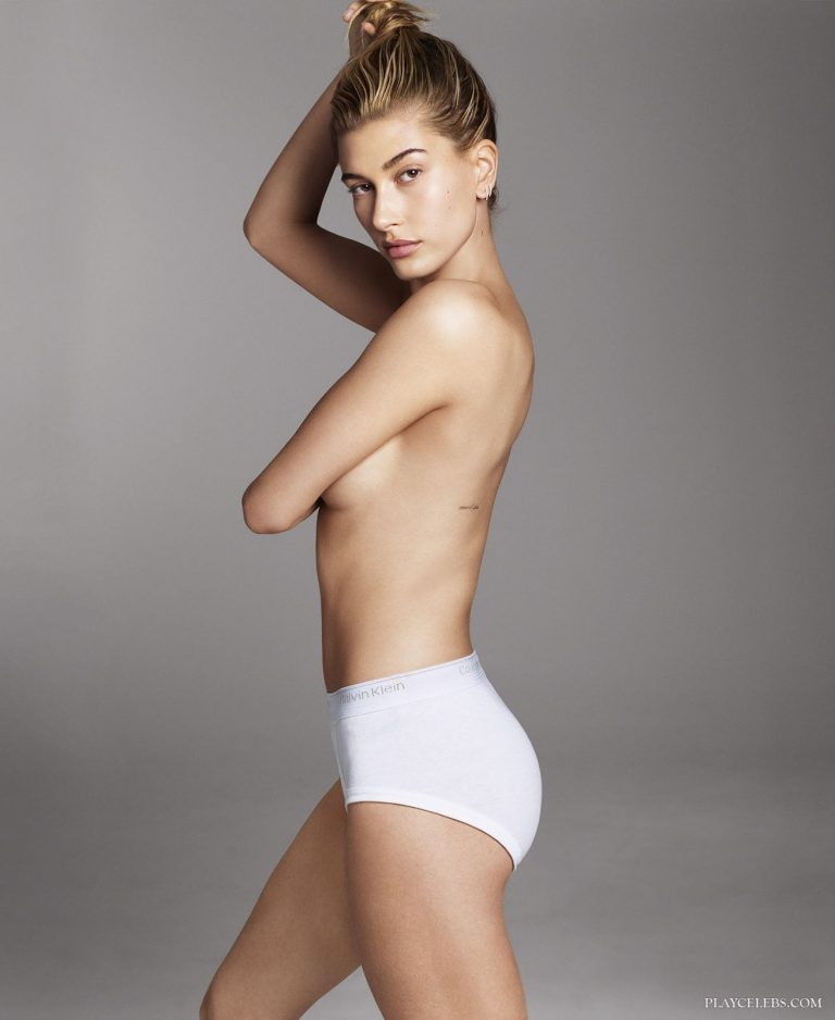 Hailey Baldwin Topless And Covering Her Cute Tits