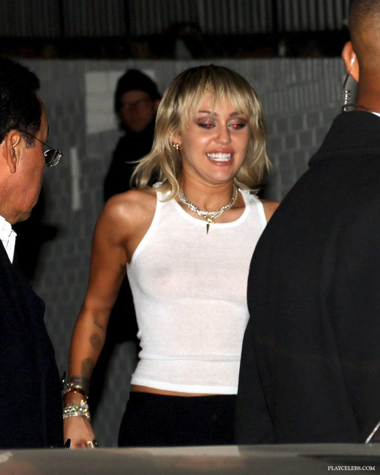 Miley Cyrus See Through Top On Public