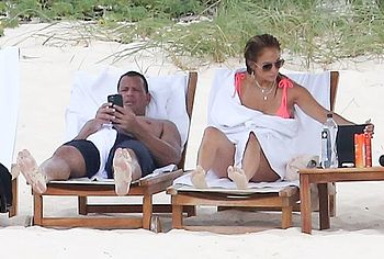 Jennifer Lopez sunbathing