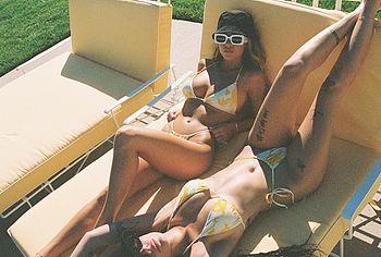 Halsey sunbathing