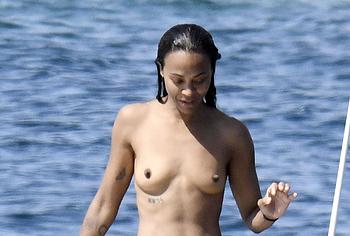 Zoe Saldana topless shots