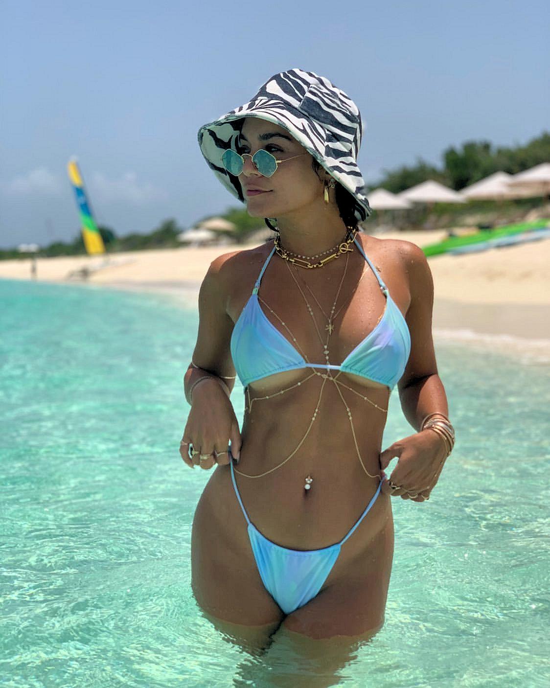 Vanessa Hudgens Wet Transparent Bikini Photos