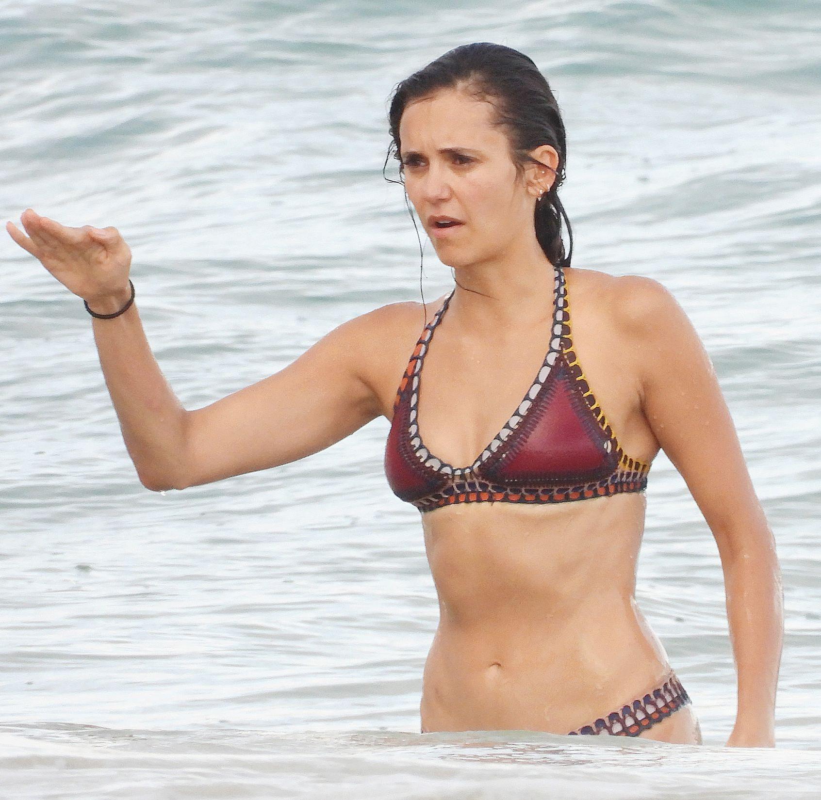 Nina Dobrev Paparazzi Wet Bikini Beach Photos